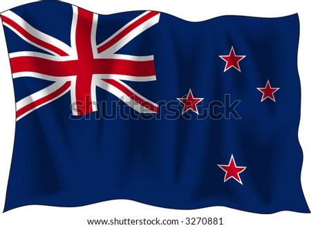 Waving flag of New-Zealand isolated on white