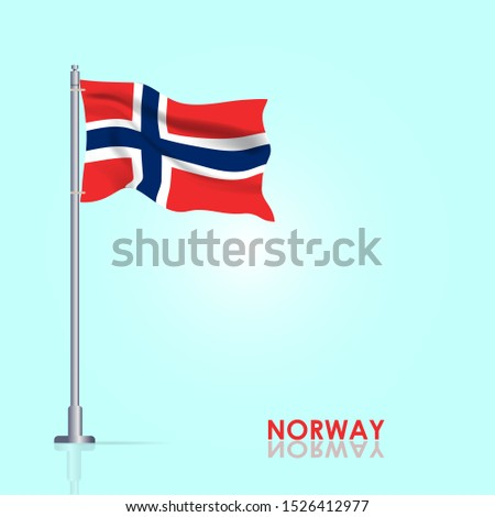 waving flag of norway on