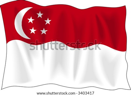 Waving flag of Singapore isolated on white - stock vector