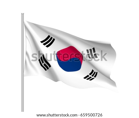 893aad7a2879 Waving flag of South Korea. Illustration of Asian country flag on flagpole.  Vector 3d