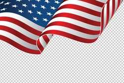 waving flag of the United States of America. illustration of wavy American Flag for Independence Day. American flag on transparent background - vector illustration.
