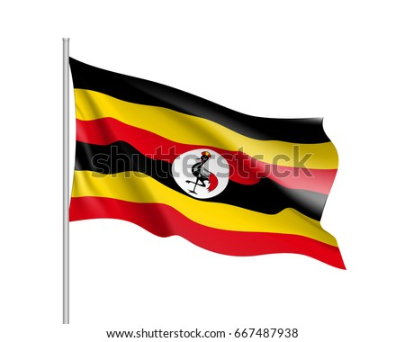Shutterstock Waving flag of Uganda. Symbol african state in proportion correctly and Ugandan official colors. Patriotic sign East Africa country. Vector icon illustration