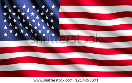 Waving flag of United States. Flag America. Vector illustration of  United States 3D icon