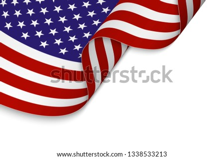Waving flag of United States. Patriotic background #1338533213