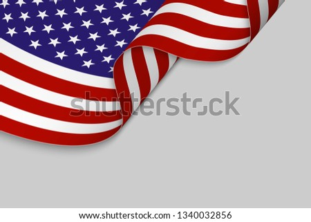 Waving flag of United States. Patriotic background #1340032856