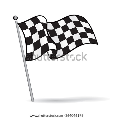stock-vector-waving-flag-with-checkered-black-white-racing-pattern-motor-sport-element-vector-illustration