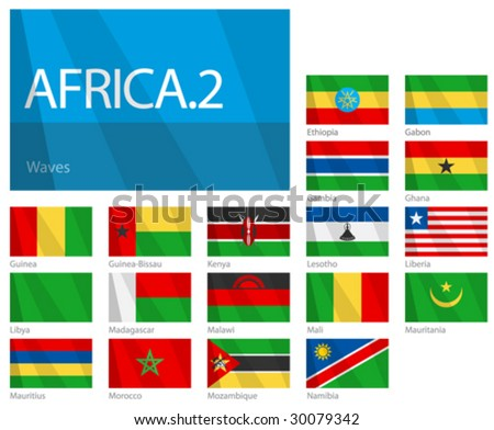 "Waving Flags of African Countries - Part 2. Design ""Waves"". One of the Flags of the World series. - stock vector"