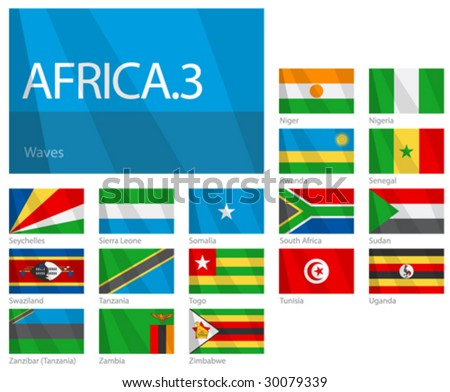 "Waving Flags of African Countries - Part 3. Design ""Waves"". One of the Flags of the World series."