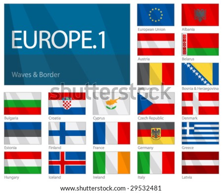 flags of the world countries. stock vector : Waving Flags of