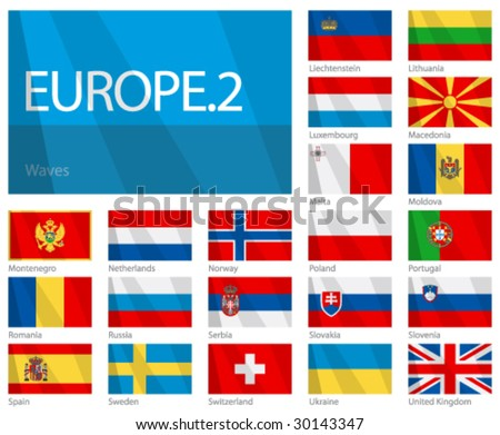 "Waving Flags of European Countries - Part 2. Design ""Waves"". One of the Flags of the World series."