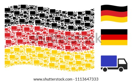 Waving Germany flag. Vector delivery lorry items are arranged into geometric German flag composition. Patriotic composition constructed of flat delivery lorry pictograms.