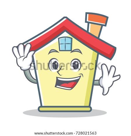 Waving house character cartoon style