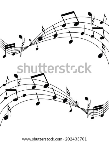 Waving Musical Notes Vector