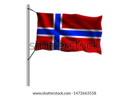 waving norway flag on flagpole