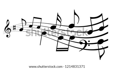 Waving notes and melody icon vector illustration isolated on white background