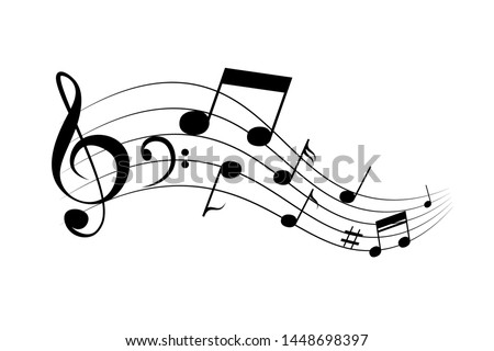 Waving notes and melody vector icon. Black silhouette isolated on white background.
