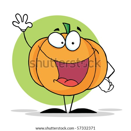 Waving Pumpkin Mascot Cartoon Character