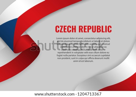 Waving ribbon or banner with flag of Czech_Republic. Template for poster design