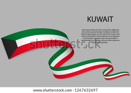 Waving ribbon or banner with flag of Kuwait. Template for independence day poster design