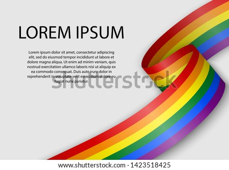 Waving ribbon or banner with flag of LGBT pride. Template for pride month poster design
