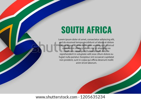 Waving ribbon or banner with flag of South Africa. Template for poster design