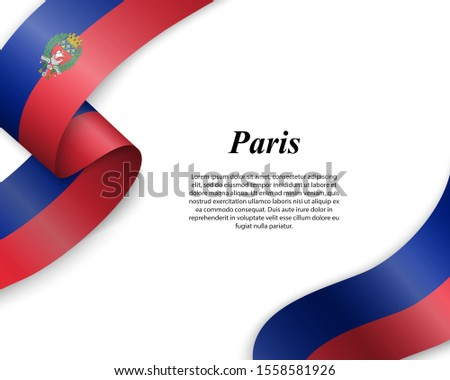 Waving ribbon with flag of Paris City. Template for poster design Foto stock ©