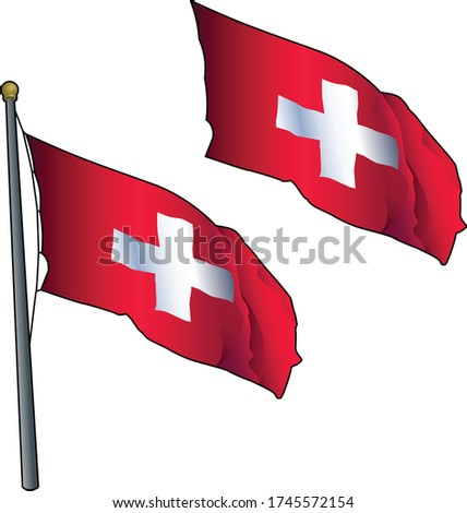 Waving Swiss Flag on Flagpole