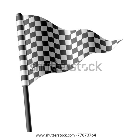 Waving triangular checkered flag. Vector.
