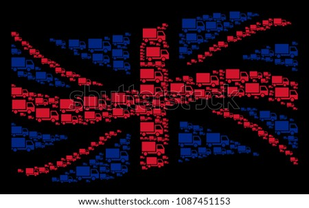 Waving UK flag collage created of delivery lorry icons. Vector delivery lorry pictograms are combined into geometric Great Britain flag collage.