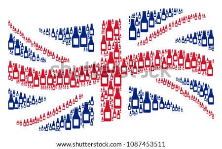 Waving United Kingdom official flag collage done of beer bottle icons. Vector beer bottle design elements are combined into geometric Great Britain flag collage.