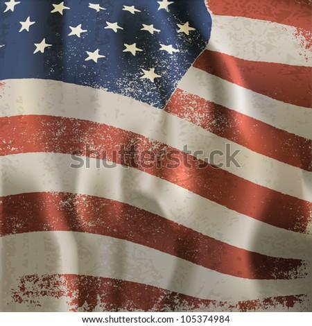 Waving vintage American flag textured background. Vector, EPS10