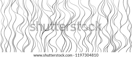 Wavy background. Hand drawn lines. Hair texture. Monochrome wave pattern. Doodle for design. Line art. Illustration for work. Design for spiritual relaxation for adults. Black and white wallpaper