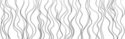 Wavy background. Hand drawn waves. Seamless wallpaper on horizontally surface. Stripe texture with many lines. Waved pattern. Line art. Print for banners, flyers or posters