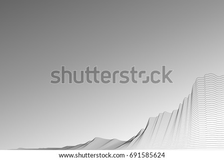Wavy black line on a white background. 3D Technology Style. Stock vector illustration EPS 10