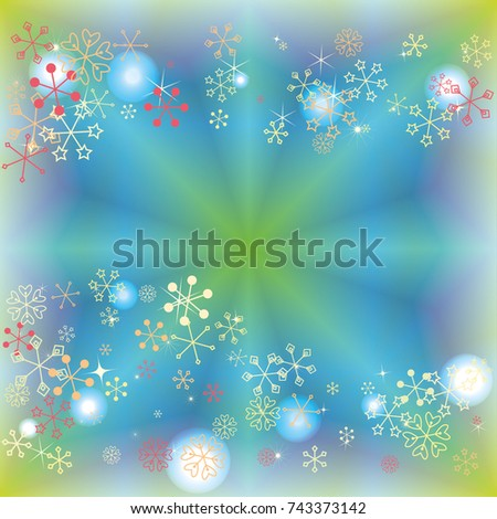 Wavy Christmas background with random scatter falling colorful snowflakes and bright lights and sparkles on a blue and green background. #743373142