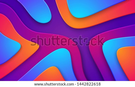 Wavy colorful background with 3D style. Modern liquid background. Abstract textured background with mixing pink,purple, blue, and orange color. Eps10 vector illustration.