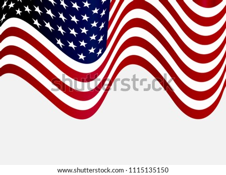 Wavy Flag of USA.Vector American Flag. #1115135150