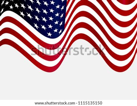 Wavy Flag of USA.Vector American Flag. #1115135150