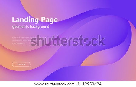Wavy geometric background. Trendy gradient shapes composition. Eps10 vector. - Shutterstock ID 1119959624