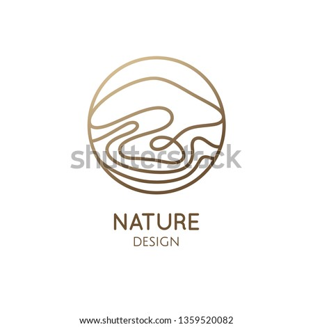 Wavy lines logo template. Vector linear round icon of water, mountain landscape. Minimal simple abstract emblem for business emblem, badge for a travel, tourism, ecology concept, health, yoga Center