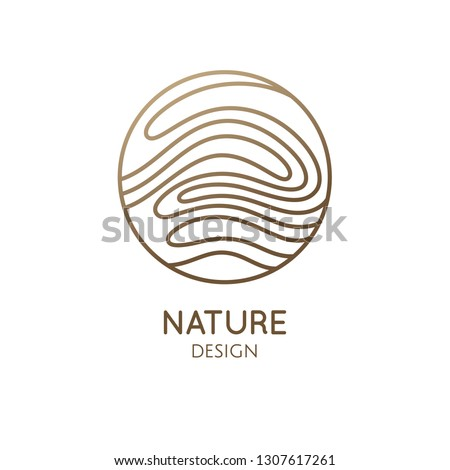 Wavy lines logo template. Vector linear round icon of water or desert landscape. Minimal simple abstract emblem for business emblem, badge for a travel, tourism, ecology concept, health, yoga Center