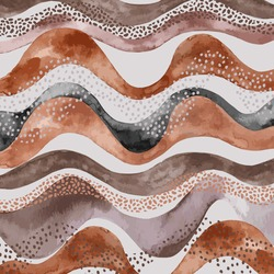 Wavy pattern in natural geo style. Abstract wavy stripes with doodle, polka dot, watercolor texture in earth tone colors. Trendy art. Safari inspired hand painted organic shapes illustration