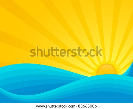 Wavy sea sunset or sunrise. EPS 8 RGB with global colors vector illustration.