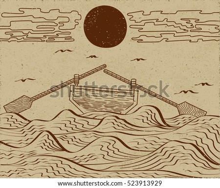 wavy sea water landscape