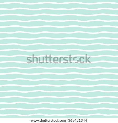 Wavy stripes seamless background. Thin hand drawn uneven waves vector pattern. Striped abstract template. Cute wavy streaks texture. White bars on mint green backdrop.