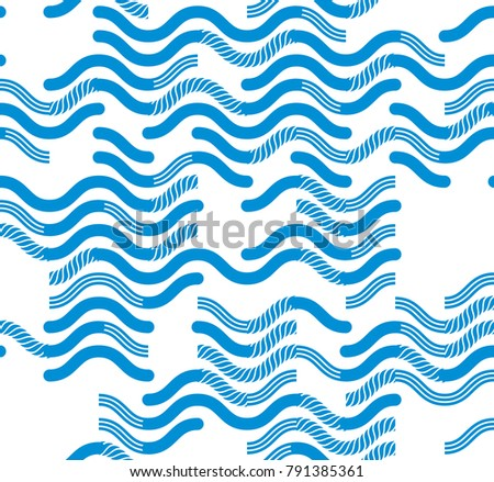 Wavy technical lines seamless pattern, vector abstract repeat endless background, blue colored rhythmic waves.
