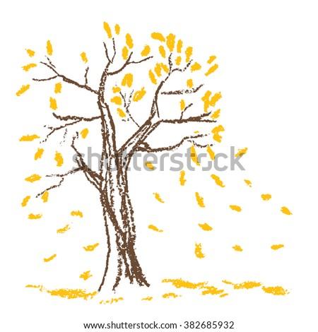 wax crayon hand drawn autumn
