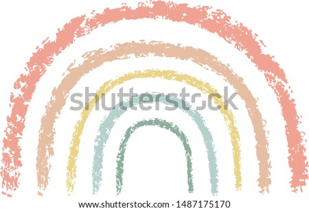 Wax crayon kid`s drawn colorful rainbow isolated on white. Child`s drawn pastel chalk Rainbow. Cute  kid`s painting rainbow  Vector hand drawing background banner.