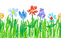 Wax crayon kid`s hand drawn colorful flowers with green grass on white. Seamless child`s drawn flowers set. Cute of kid`s painting spring and summer meadow. Vector pastel chalk background banner.