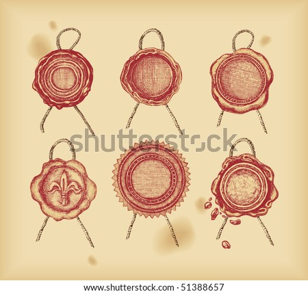 Wax seal - drawing -vector - stock vector